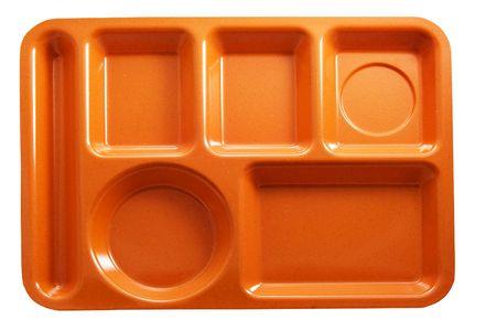 orange plastic school lunch tray on white background