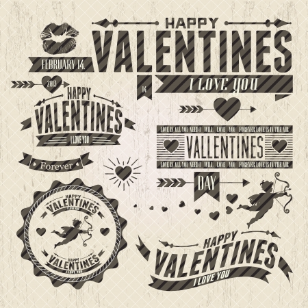 Valentine`s Day vintage design elements  with ornaments, hearts, ribbon,