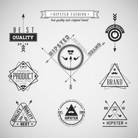 Illustration for Set of hipster vintage retro labels -  Compatibility Required - Royalty Free Image