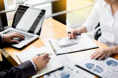 Photo pour Administrator business man financial inspector and secretary making report, calculating balance. Internal Revenue Service checking document. Audit concept - image libre de droit