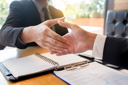 Photo for Business, career and placement concept, boss and employee handshaking after successful negotiations or interview - Royalty Free Image