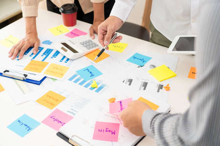 Photo for Creative group of business people brainstorming use sticky notes to share idea on glass window or table in office - Royalty Free Image