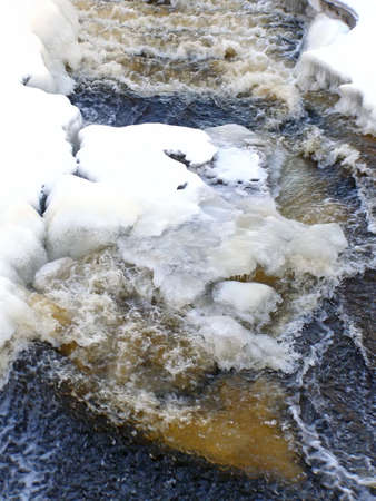 stream of water run through the snow and ice