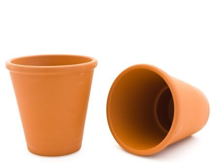 two empty ceramic planty pot over the white background