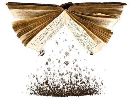 Foto de open book with spill out characters from it against the white background - Imagen libre de derechos