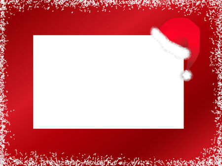 Illustration of New Year template with Santa hat against red background with snow