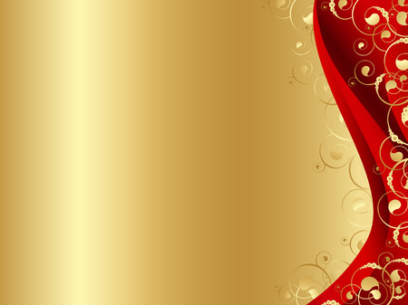 Illustration for Illustration of the decorated frame in red and gold with swirls and copyspace for your text  - Royalty Free Image