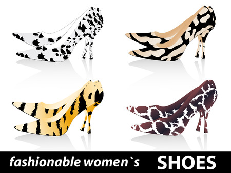 Set of four pairs fashionable women`s shoes