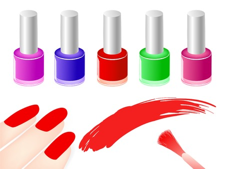 multicolored nail polish bottles near red nails and  brush