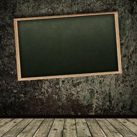 Foto de Photo of abstract grunge shabby interior with school blackboard - Imagen libre de derechos