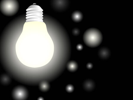 light bulb with glowworms over black background