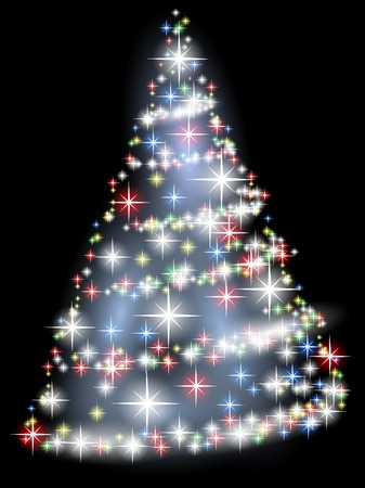 Bright Christmas tree with stars over black