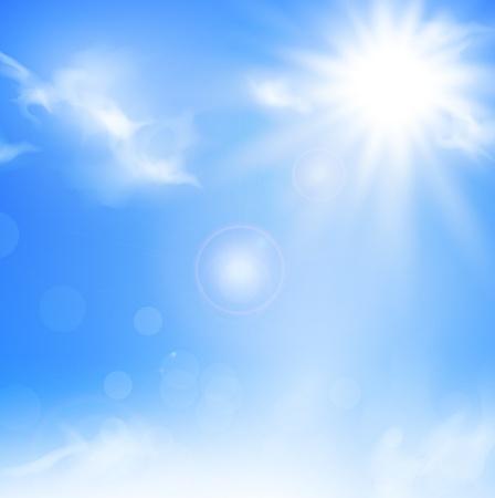 Illustration pour Illustration of the nature background with blue sky and sun  - image libre de droit