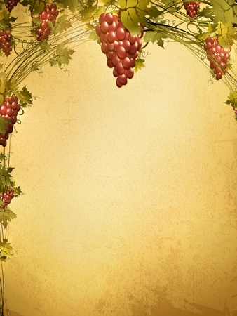 Illustration of red grape vine frame at grunge background with copyspace for your text