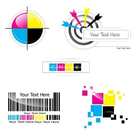 Creative CMYK design collection over white