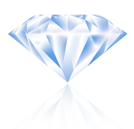 Single Diamond Over White Background