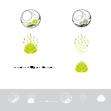 Green Terrarium With Plants and Stone icon Design Collection