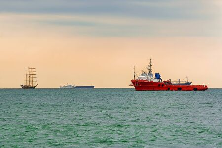 Photo for Anchor Handling Vessel in the Black Sea - Royalty Free Image