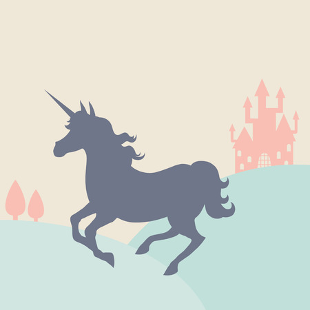 Galloping unicorn silhouette in the landscape: Royalty-free