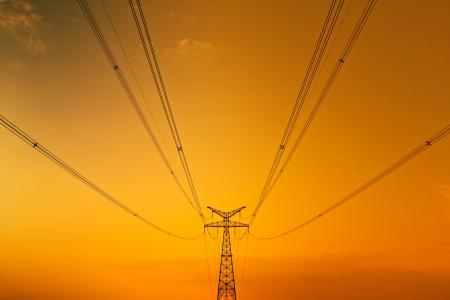 Photo pour High-voltage tower sky background - image libre de droit