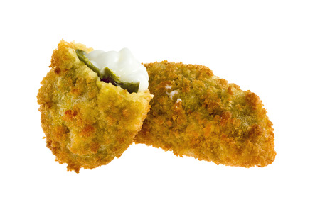 Jalapeno poppers with cheese  isolated on white background