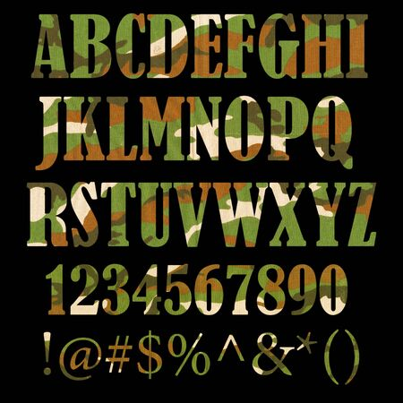 Military camouflage textured ABC containing letters, numbers, signs