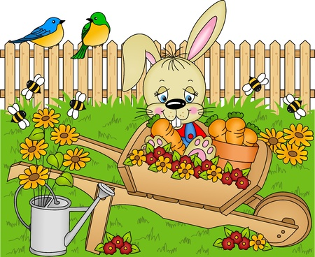 Illustration pour Rabbit harvest carrots in the garden - image libre de droit