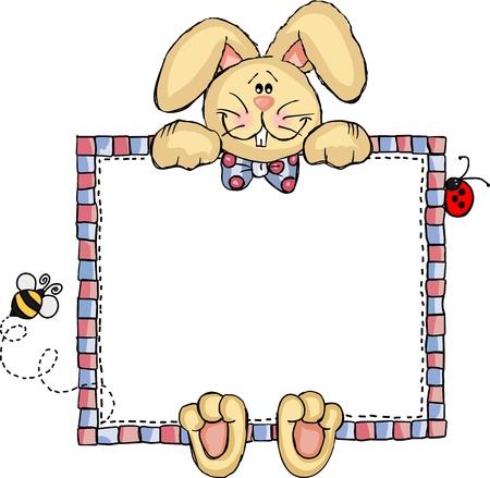 Illustration pour Label Frame Bunny - image libre de droit