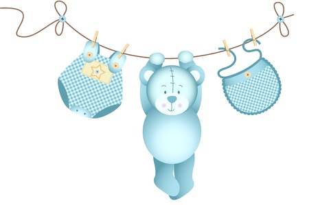 Illustration for Teddy bear baby boy hanging on a clothesline - Royalty Free Image