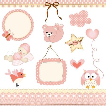 Illustration pour Baby girl design elements - image libre de droit