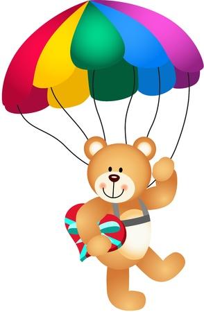 Ilustración de Teddy bear parachute holding heart - Imagen libre de derechos