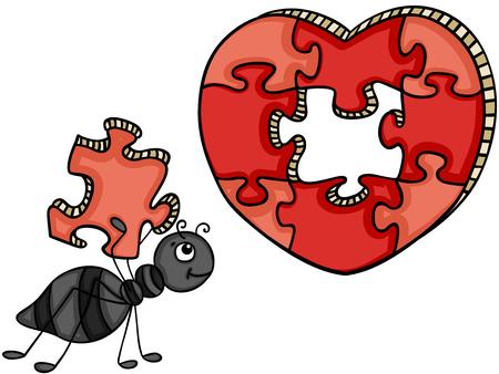 Ilustración de Ant with heart shaped puzzle - Imagen libre de derechos