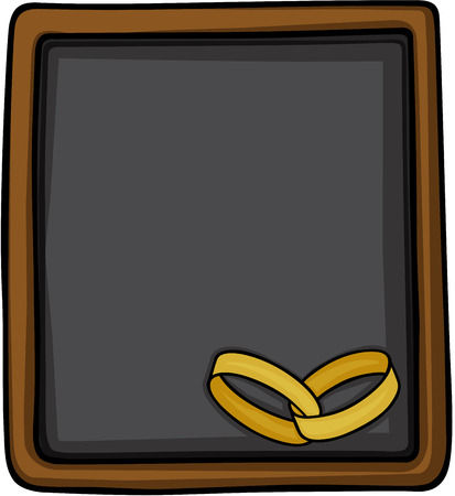 Ilustración de Chalkboard with gold wedding rings. - Imagen libre de derechos