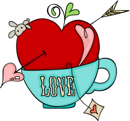 Ilustración de Love red apple of cupid on a cup of tea - Imagen libre de derechos