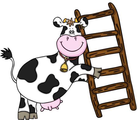 Ilustración de Happy cow with wooden ladder. - Imagen libre de derechos
