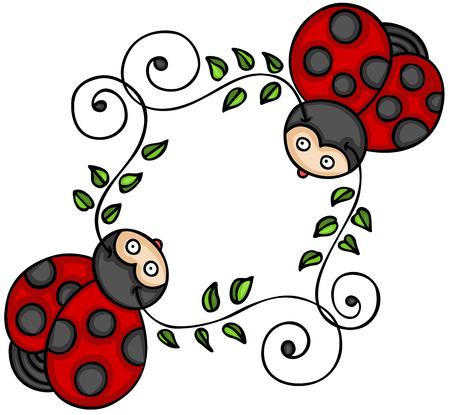 Ilustración de Two cute ladybugs - Imagen libre de derechos