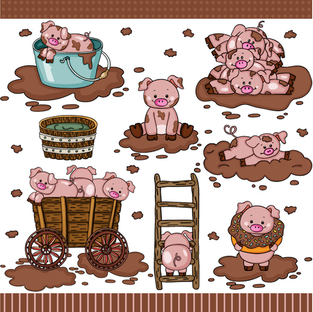 Ilustración de Cute pig in mud set digital elements - Imagen libre de derechos