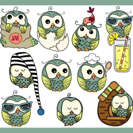 Ilustración de Cute owl set digital elements - Imagen libre de derechos
