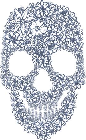 Ilustración de Human skull made of flowers - Imagen libre de derechos