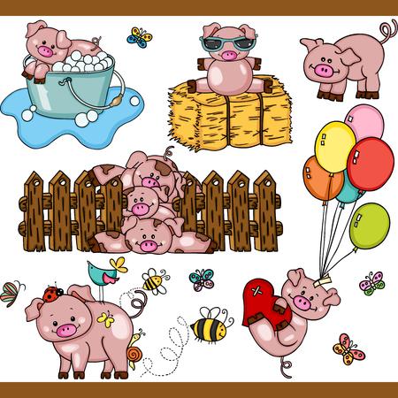 Ilustración de Cute pig set digital elements - Imagen libre de derechos