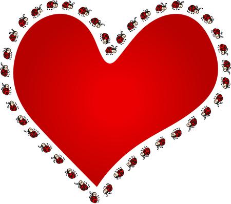 Ilustración de Ladybugs around red heart - Imagen libre de derechos