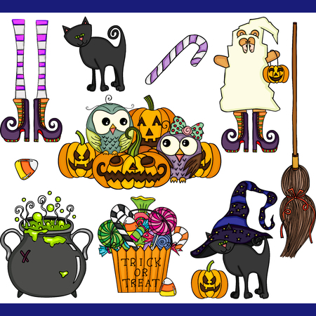 Ilustración de Halloween set digital elements - Imagen libre de derechos