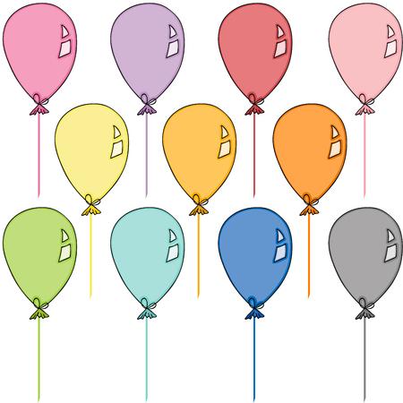 Ilustración de Colored balloons set - Imagen libre de derechos