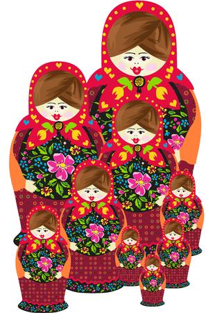 Ilustración de Traditional russian matryoshka doll family - Imagen libre de derechos