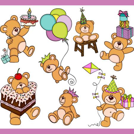 Ilustración de Birthday teddy bear set digital elements - Imagen libre de derechos