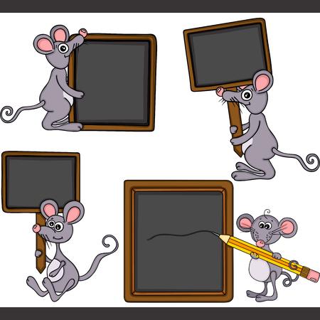 Ilustración de Mouse with blank wooden blackboard set digital elements - Imagen libre de derechos