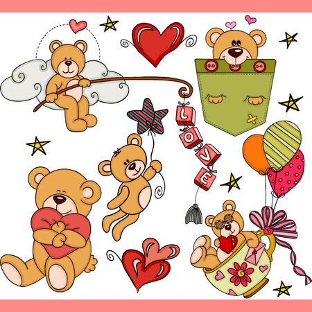 Ilustración de Teddy bear party set digital elements - Imagen libre de derechos