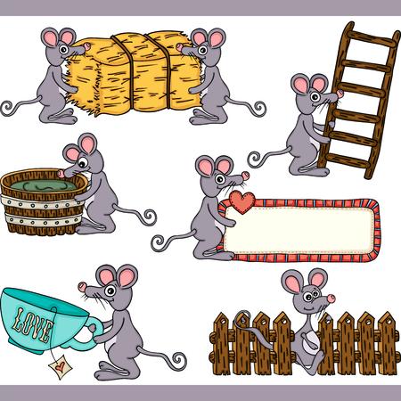 Ilustración de Cute mouse set digital elements - Imagen libre de derechos
