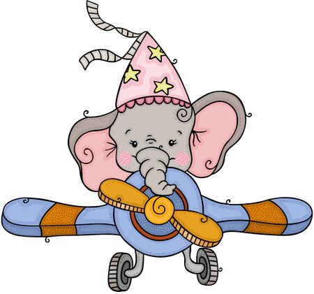 Illustration pour Little elephant with party hat flying an airplane - image libre de droit