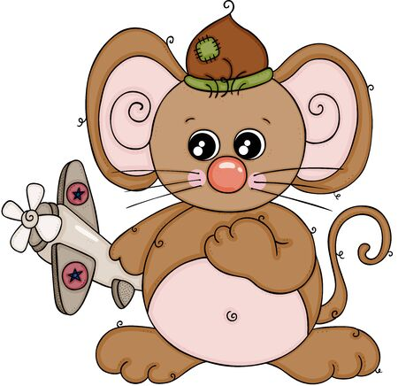 Illustration for Cute brown mouse playing with little airplane - Royalty Free Image
